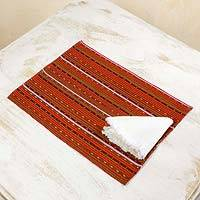 Cotton placemats and napkins, 'Kaqchikel Fiesta' (set for 4) - Fair Trade 100% Cotton Hand Woven Placemats and Napkins in R