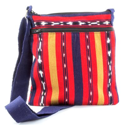 Cotton shoulder bag, 'Coming and Going' - Backstrap Loom Handwoven Bright Red Cotton Shoulder Bag