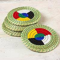 Cotton and natural fibers coasters, 'Ch'um Cycles' (set of 4) - Artisan Crafted Muhly Grass and Cotton Coasters (Set of 4)