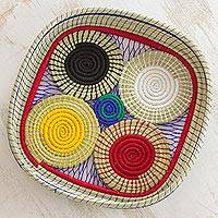 Cotton and natural fiber basket, 'Ch'um Cycles' - Artisan Crafted Multicolor Muhly Grass and Cotton Basket