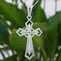 Sterling silver cross necklace, 'Beauty of Faith' - Celtic Style Cross Pendant Necklace in Sterling Silver