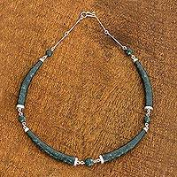 Jade pendant necklace, 'Magical Maya Night' - 21-Inch Modern Necklace with Silver and Dark Green Maya Jade