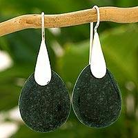 Jade dangle earrings, 'Dark Yaxha Forest' - Modern Dark Green Jade and Silver Earrings