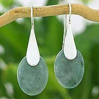 Jade dangle earrings, 'Cool Maya Jungle' - Fair Trade Silver 925 and Green Jade Handcrafted Earrings