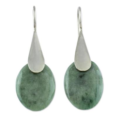 Jade dangle earrings, 'Cool Maya Jungle' - Fair Trade Silver 925 and Green Jade Handcrafted Earrings