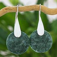 Jade dangle earrings, 'Cool Yaxha Jungle' - Modern Fair Trade Silver 925 Light Green Jade Earrings
