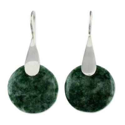 Jade dangle earrings, 'Cool Yaxha Jungle' - Modern Fair Trade Silver 925 Light Green Jade Earrings