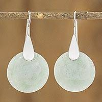 Jade dangle earrings, 'Otomi Forest Princess' - Fair Trade Silver 925 and Green Jade Handcrafted Earrings