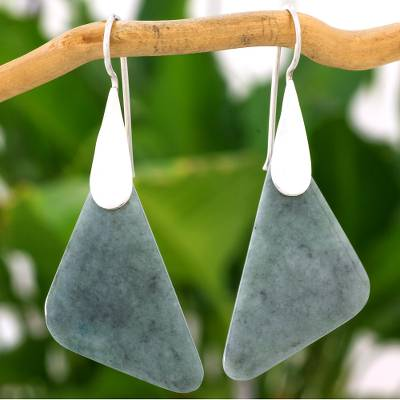 Jade dangle earrings, 'Contemporary Contours' - Modern Handcrafted Apple Green Jade Earrings from Guatemala