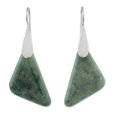 Jade dangle earrings, 'Contemporary Contours' - Modern Handcrafted Apple Green Jade Earrings from Guatemala