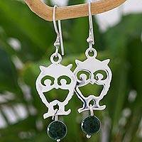 Jade dangle earrings, 'Bird of the Night' - Handcrafted Bird Theme Earrings with Dark Green Jade