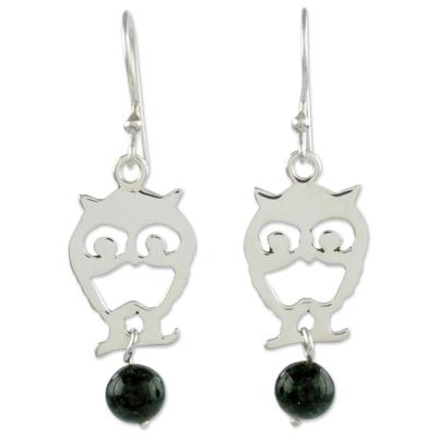 Jade dangle earrings, 'Bird of the Night' - Handcrafted Bird Theme Earrings with Dark Green Jade