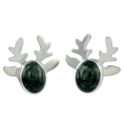 Jade button earrings, 'Maya Deer Dancer' - Modern Handcrafted Deer Theme Green Jade Earrings