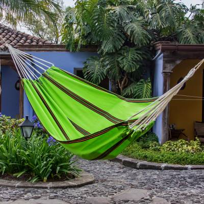 Handwoven hammock, 'Green Tropical Slumber' (single) - Green Hand Woven Guatemalan Fabric Hammock (Single)