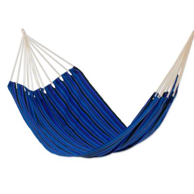 handwoven hammock  u0027blue dreams u0027  single    hand woven guatemalan fabric blue hand woven guatemalan fabric blue single hammock   blue dream   novica  rh   novica