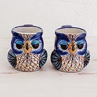 Terracotta mugs, 'Búho Mañanero' (pair) - Handmade Guatemalan Terracotta 11 oz Owl Mugs (Pair)