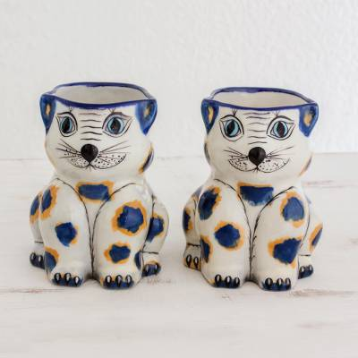 Terracotta mugs, 'Gatos Amigueros' (pair) - Hand Crafted 11 oz Terracotta Cat Mugs from Guatemala (Pair)