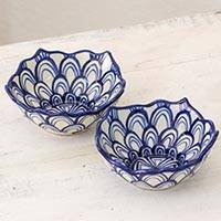 Terracotta bowls, 'Girasoles del Campo' (pair) - Hand Crafted Blue and White 6 oz Terracotta Bowls (Pair)