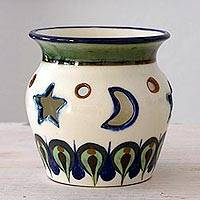Terracotta tealight holder, 'Midnight Forest' - Moon and Stars on Artisan Crafted Terracotta Tealight Holder