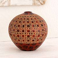 Ceramic decorative vase, 'Playa Maderas' - Nicaraguan Red Terracotta Vase with Hand-Etched Motifs