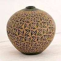 Ceramic decorative vase, 'Chontales Traditions' - Green and Brown Handcrafted Terracotta Decorative Vase
