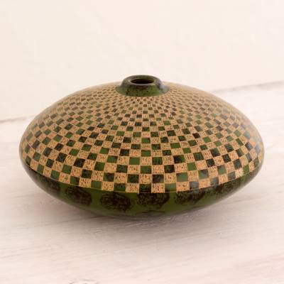 Ceramic decorative vase, Checkerboard Earth