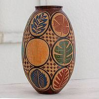 Ceramic decorative vase, 'Forest Leaves' - Artisan Crafted Ceramic Decorative Vase with Leaf Motif