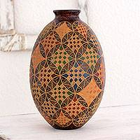 Ceramic decorative vase, 'Interlocking Circles' - Artisan Crafted Ceramic Decorative Vase with Engraving