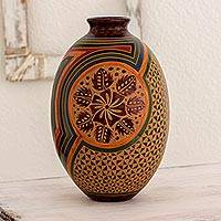 Ceramic decorative vase, 'Floral Trance' - Artisan Crafted Ceramic Vase with Floral and Geometric Motif