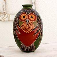 Ceramic decorative vase, 'Owl Gaze' - Artisan Crafted Ceramic Decorative Vase with Owl Motif