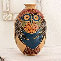 Ceramic decorative vase, 'Friendly Gaze' - Hand Crafted Nicaraguan Ceramic Vase with Owl Motif