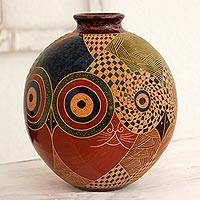 Ceramic decorative vase, 'Nicaraguan Jungle Life' - Cat and Bird Theme Colorful Terracotta Ceramic Vase