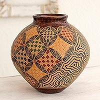 Ceramic decorative vase, 'In Corinto' - Colorful Abstract Landscape Theme Terracotta Vase