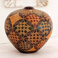 Ceramic decorative vase, 'Fish of Lake Cocibolca' - Fish Theme Handcrafted Geometric Multicolor Terracotta Vase