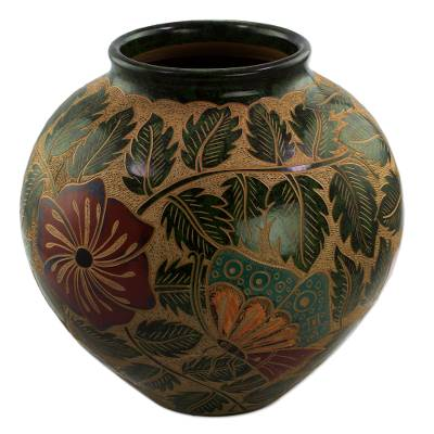 Ceramic decorative vase, 'Butterfly Luck' - Hand Crafted Ceramic Vase with Butterfly and Flowers
