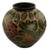 Ceramic decorative vase, 'Butterfly Luck' - Hand Crafted Ceramic Vase with Butterfly and Flowers thumbail