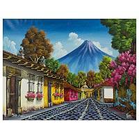 'Calle San Francisco II' - Signed Oil Painting of an Antigua Street and Volcano