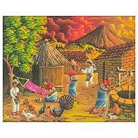 'Weaver' - Colorful Oil Painting of a Village Scene in Guatemala