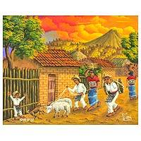 'Shepherd' - Oil Painting of a Village in Guatemala at Sunset