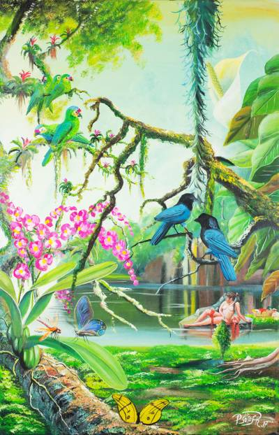 'Bushy-Crested Jays' (2017) - Signed Realist Painting of Blue Jays from Guatemala