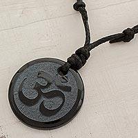 Jade necklace, 'Daily Meditation' - Unisex Jade Necklace With Cotton Cord Chain from Guatemala