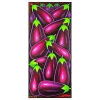 'Eggplant' - Guatemalan Still Life Painting Depicting Eggplants