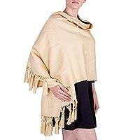 Cotton blend shawl, 'Capuccino' - Artisan Handwoven Pale Tan Cotton Blend Shawl Wrap