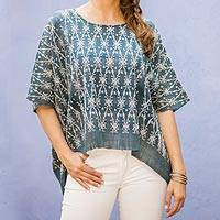 Handwoven cotton caftan top, 'Turquoise River' - Turquoise Pic Bil Handwoven Sheer Cotton Caftan Top