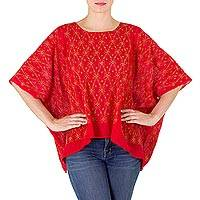 Handwoven cotton caftan, 'Red Maya River' - Guatemalan Handwoven Caftan Top in Sheer Red Cotton