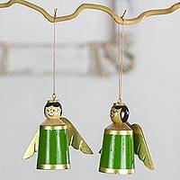 Wood ornaments, 'Little Green Angels' (set of 4) - 4 Green Angels Ornaments Hand Crafted with Reclaimed Wood