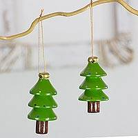 Reclaimed wood ornaments, 'Festive Green Christmas Trees' (set of 4) - 4 Green Tree Ornaments Hand Crafted with Reclaimed Wood
