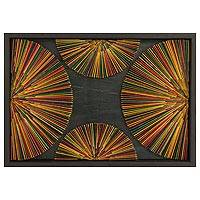 Mahogany and cedar wood wall art, 'The Other Dimension II' - Original Next Dimension Wooden Wall Art from Guatemala