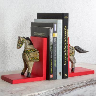 Pinewood bookends, 'Little Red Horse of Knowledge' (pair) - Guatemalan Handcrafted Pinewood Horse Bookends (Pair)