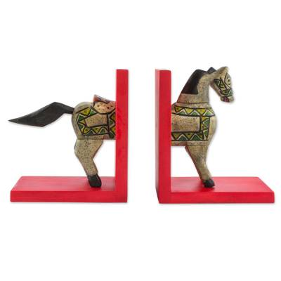 Guatemalan Handcrafted Pinewood Horse Bookends (Pair)